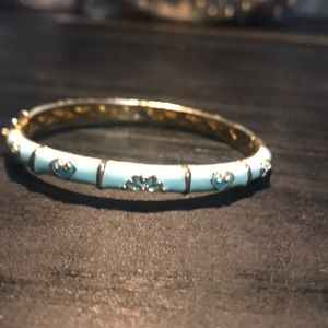 Mint colored w/gold plate hinged bangle bracelet